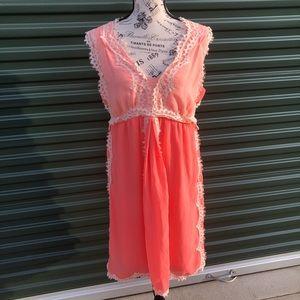 Max Studio Orange & Peach Dress Cream Lace Size XL